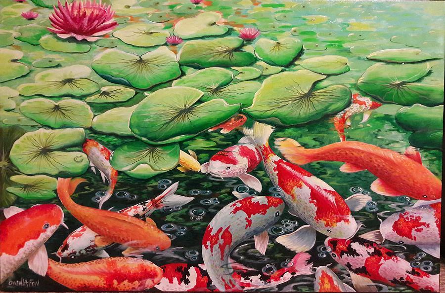 Fish Painting - My Backyard Pond by Owen Lafon