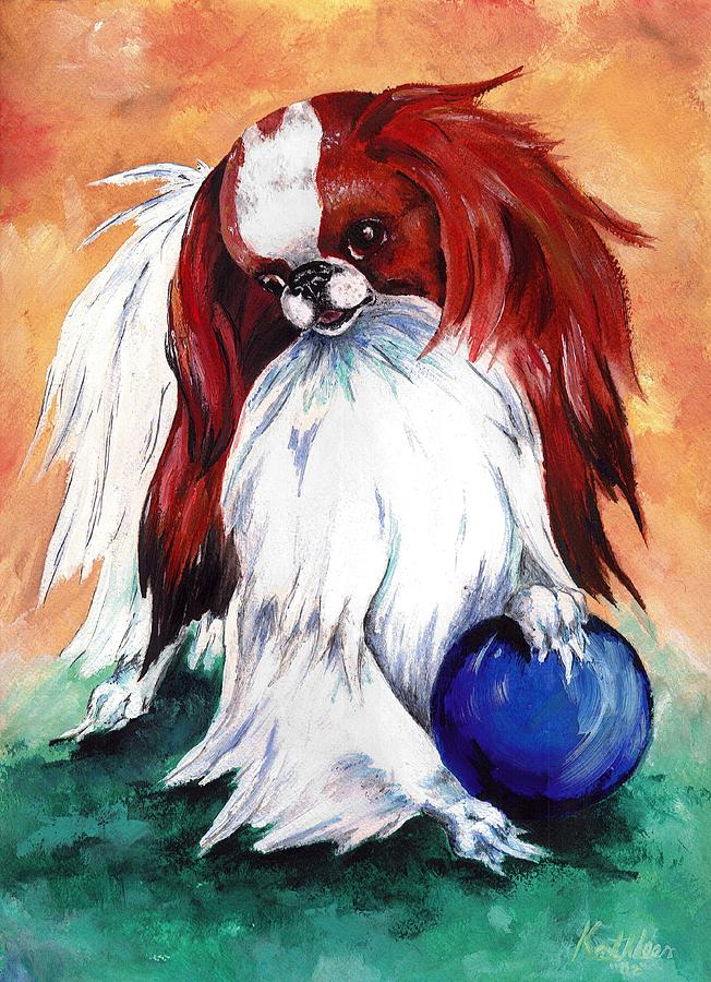 Japanese Chin Painting - My Ball by Kathleen Sepulveda