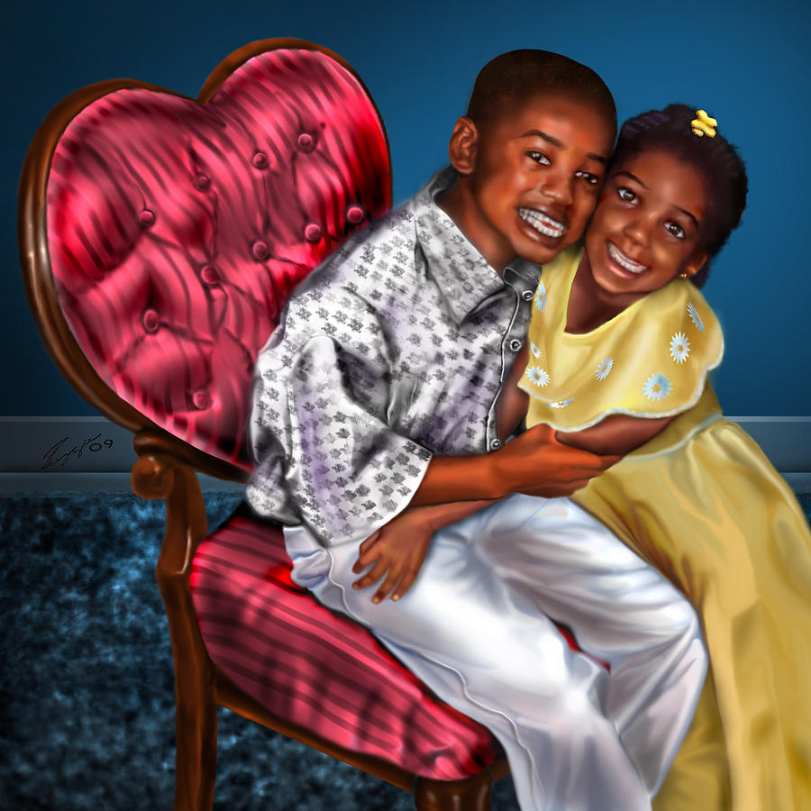 Boy And Girl Painting - My Big Brother-my Little Sister1 by Reggie Duffie