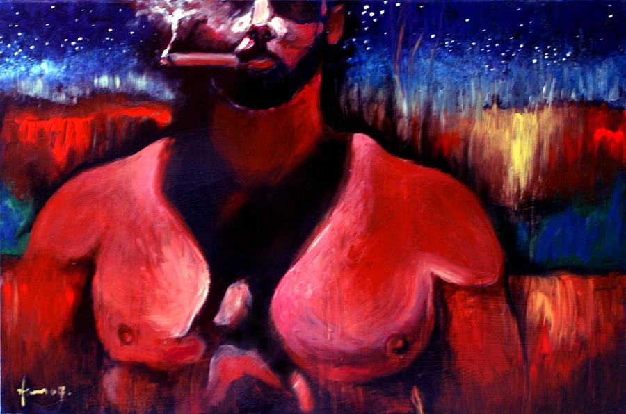 Homoerotic Painting - My Big Cigar by Hans Payan Geler