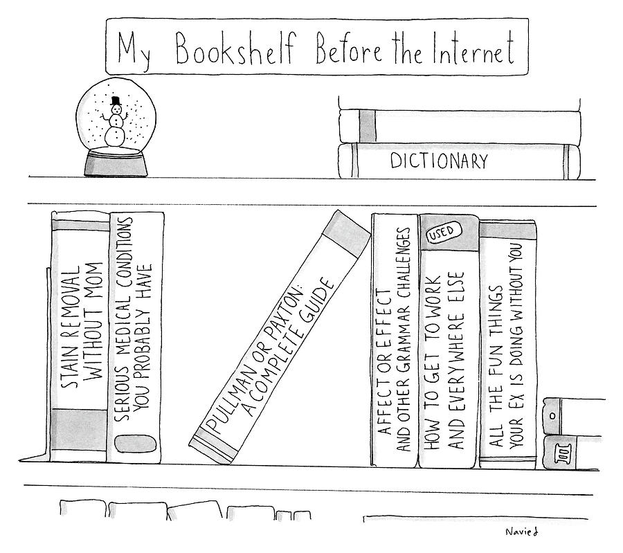 My Bookshelf Before The Internet Drawing By Navied Mahdavian
