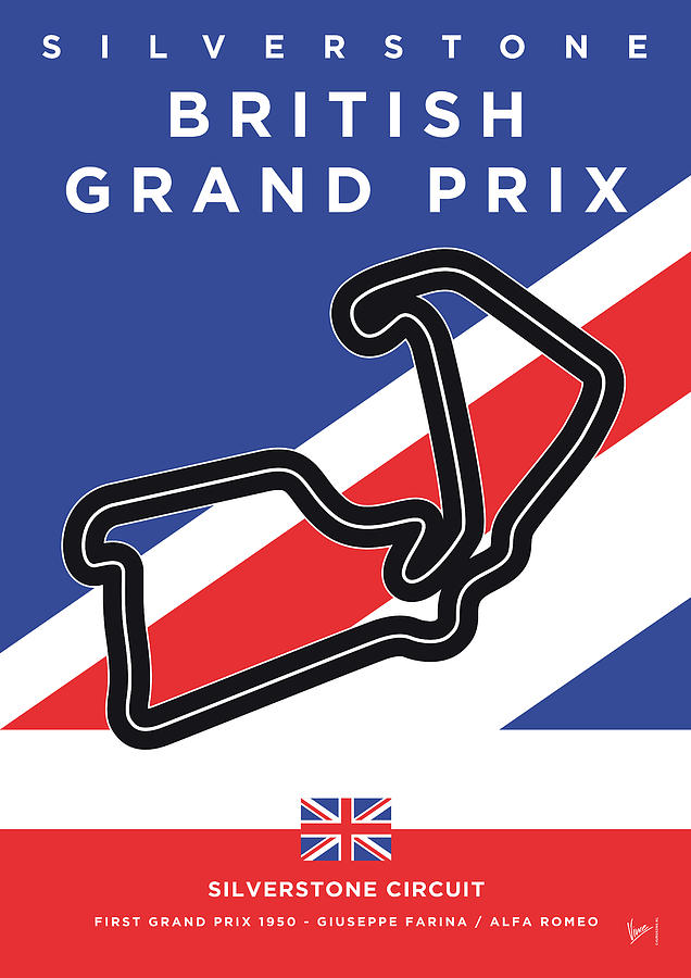 British Digital Art - My British Grand Prix Minimal Poster by Chungkong Art