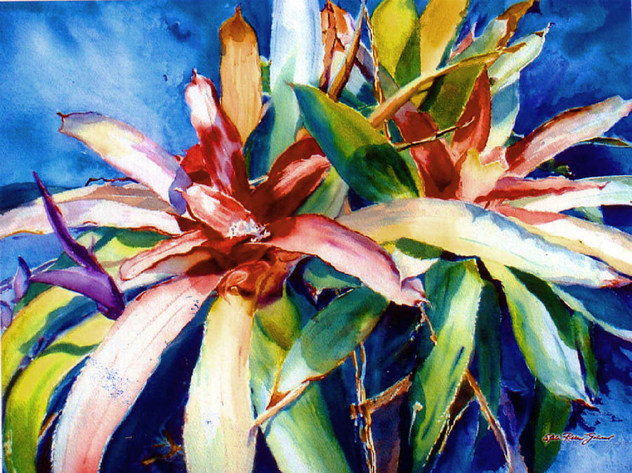 Watercolor Paintings Painting - My Bromelias by Estela Robles