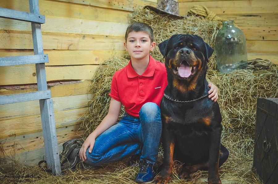 Photo Studio Photograph - My Brother And The Dog 2 by Maria Kozmina