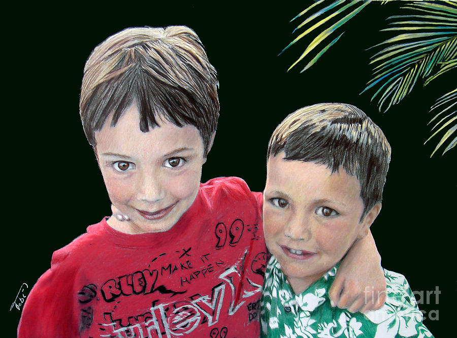 Portrait Painting - My Brothers My Pal by Tobi Czumak