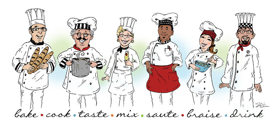 My Chefs in a Row-I by Shari Warren