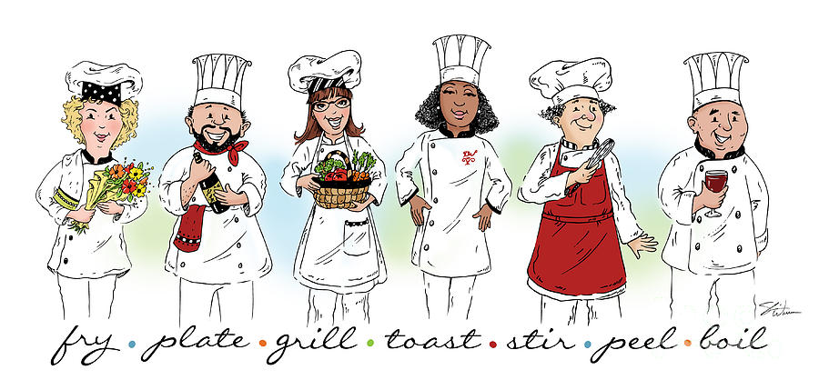 My Chefs in a Row-II by Shari Warren