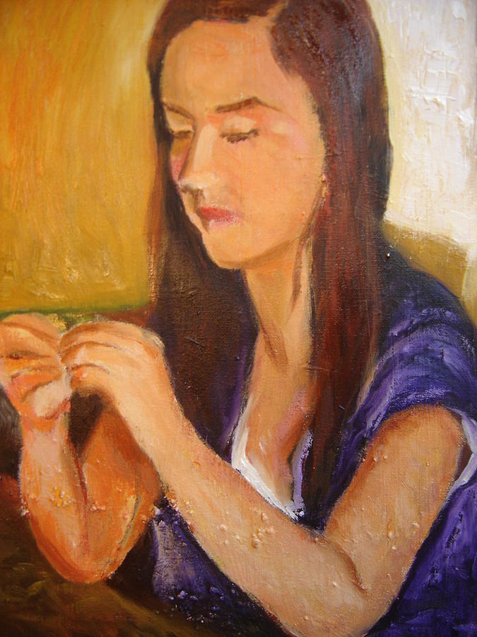 My Daugther Sewing  Painting by Pierre  Bibeau