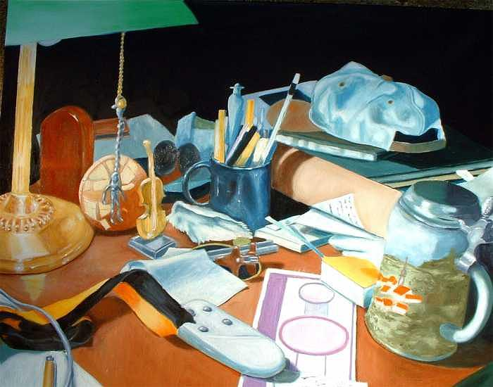 Still Life Painting - My Desk by Bron Bronzini