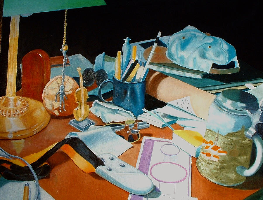 Still Life Painting - My Desk by Michael Henderson
