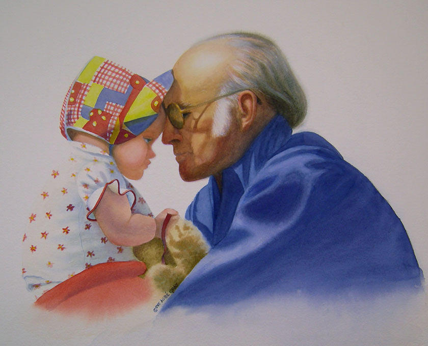 Portrait Painting - My Doctor and Her Granddaddy by Pat Aube Gray