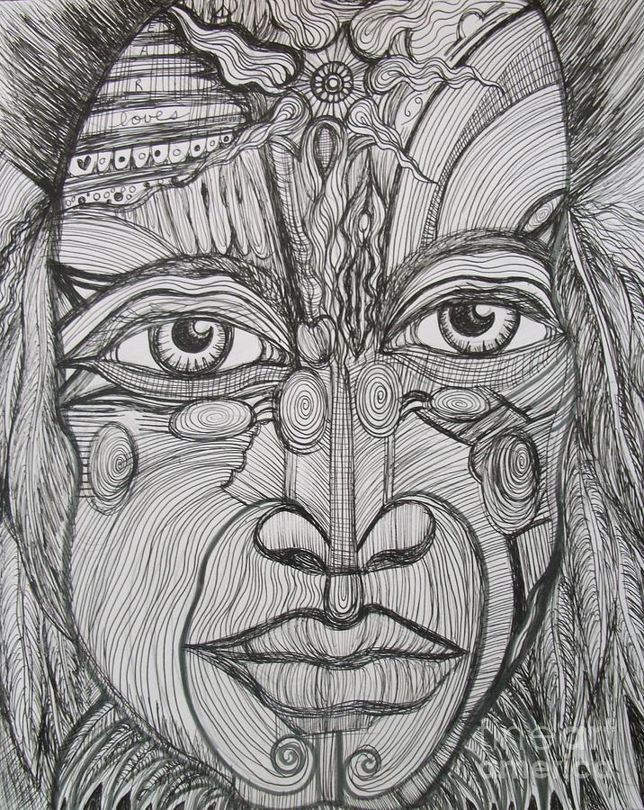 Native American Drawing - My Eyes Speak The Truth by Anita Wexler