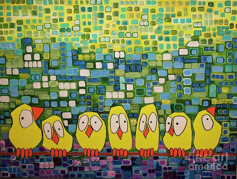 Birds Painting - My Family by Donna Howard
