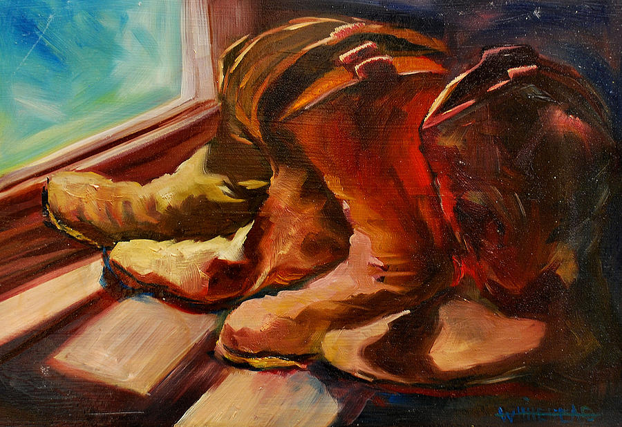 Boots Painting - My Favorite Boots by Diane Whitehead