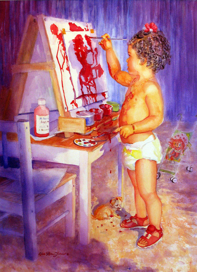 Watercolor Paintings Painting - My Favorite Painter by Estela Robles