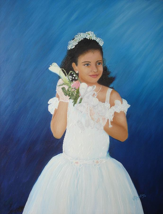Portrait Painting - My First Communion by Gloria Reyes Diaz