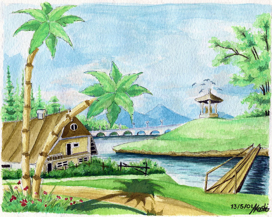 My first landscape watercolor painting at the age of 18 for My first watercolor painting