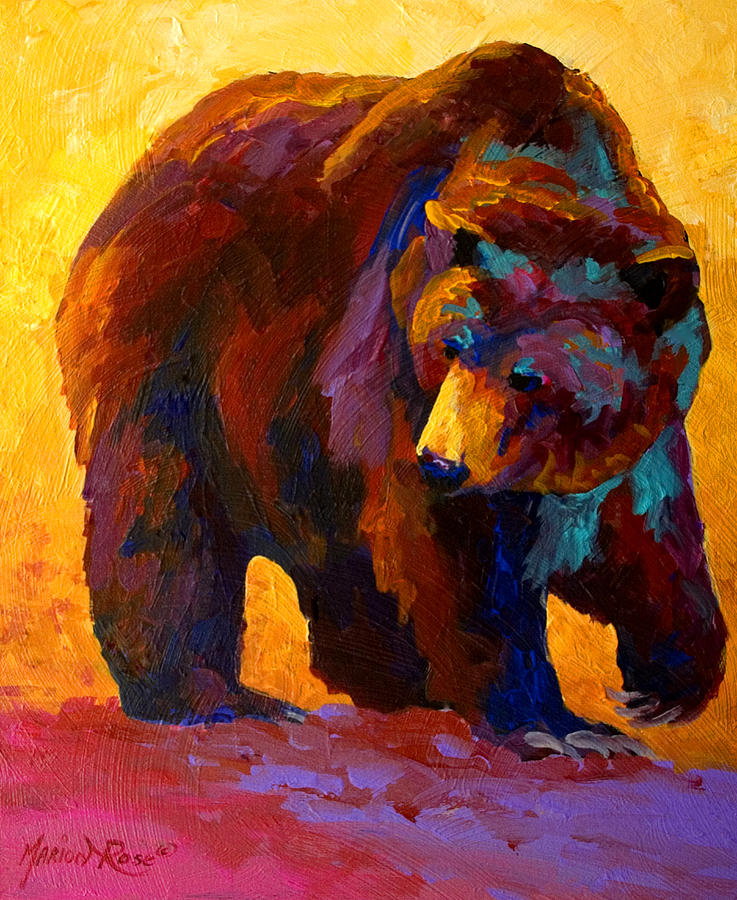 Bear Painting - My Fish - Grizzly Bear by Marion Rose
