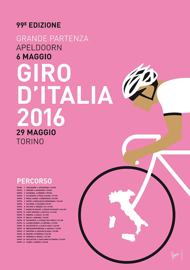 2016 Digital Art - My Giro Ditalia Minimal Poster 2016 by Chungkong Art