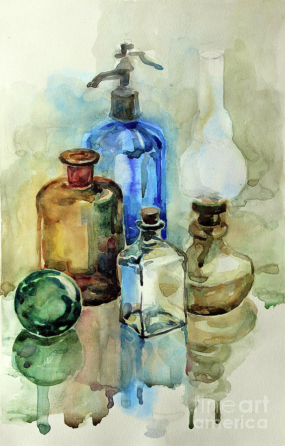 Still Life Painting - My Glass Collection II by Nedko  Nedkov