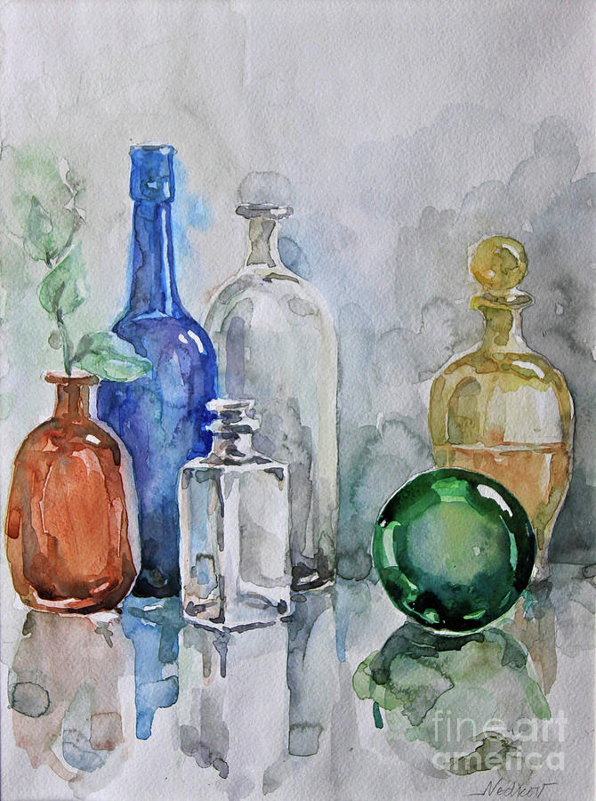 Still Life Painting - My Glass Collection IIi by Nedko  Nedkov