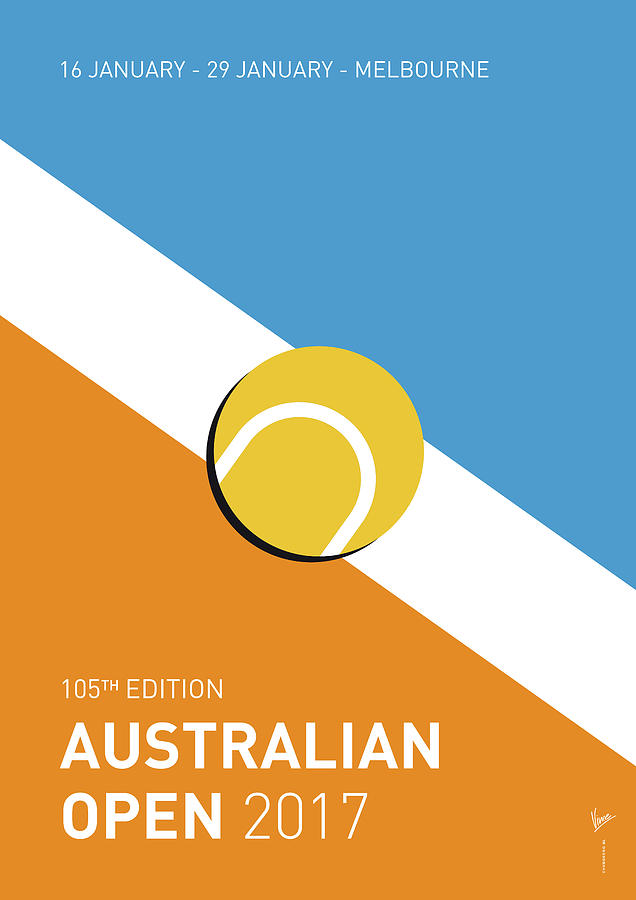 2017 Digital Art - My Grand Slam 01 Australian Open 2017 Minimal Poster by Chungkong Art