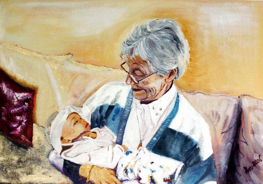 Portrait Painting - my granddaughter Leonie with her great grandmum by Helmut Rottler