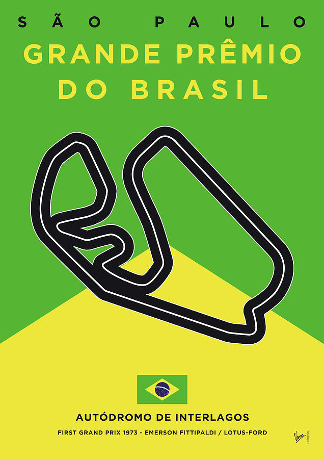Limited Digital Art - My Grande Premio Do Brasil Minimal Poster by Chungkong Art