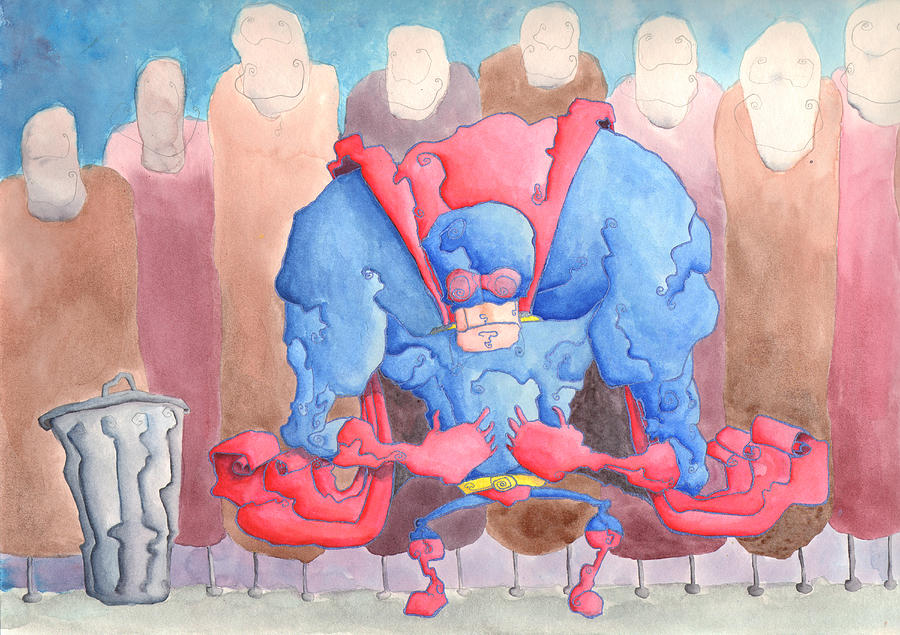 Superhero Painting - My Hands Are Small by Jonathan Arras