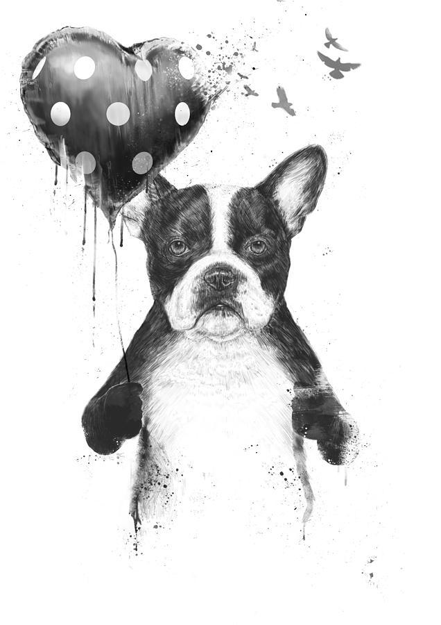 Bulldog Mixed Media - My heart goes boom by Balazs Solti