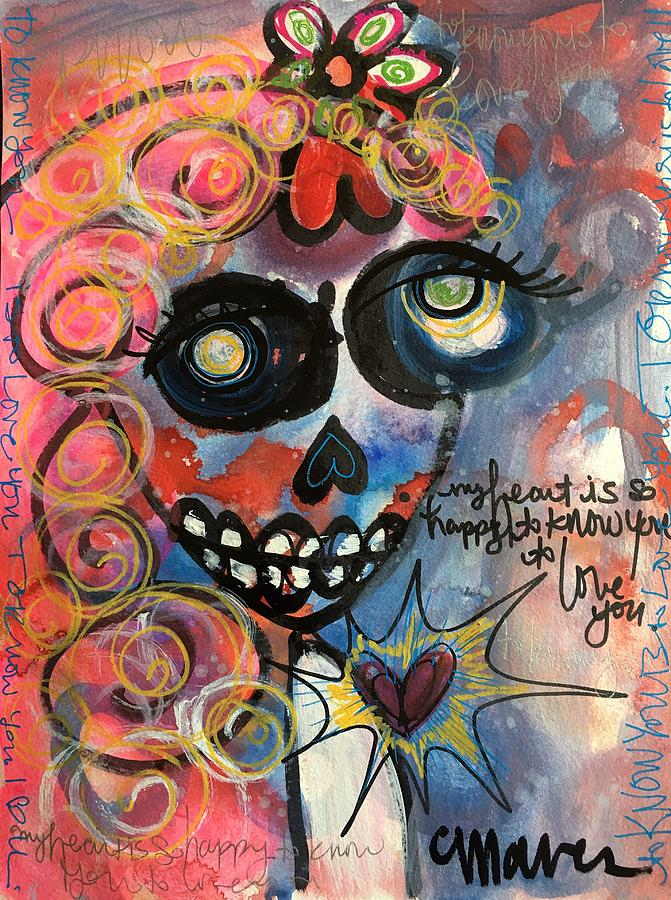 Love Painting - My Heart Is So Happy To Know You by Laurie Maves ART