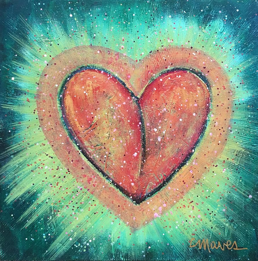 Heart Painting - My Heart Loves You by Laurie Maves ART