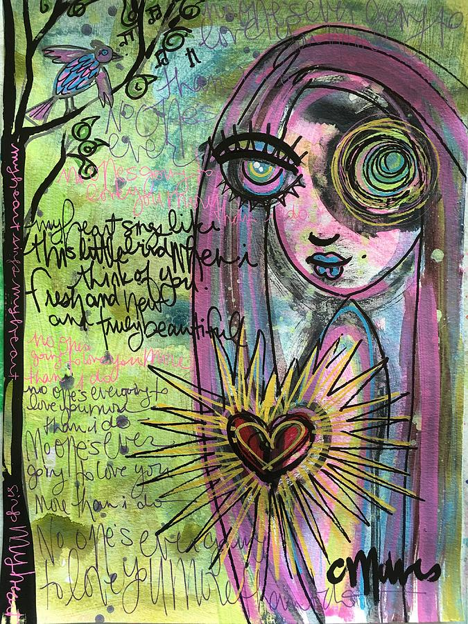 Girl Painting - My Heart Sings Like This Little Bird by Laurie Maves ART