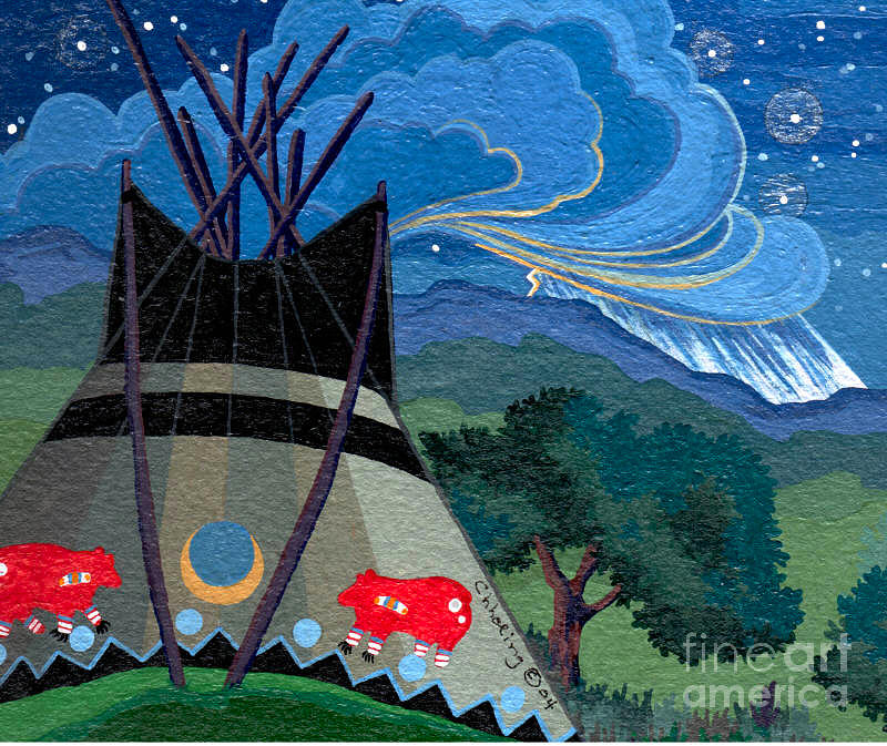 Native American Artwork Painting - My Home Sweet Home by Chholing Taha