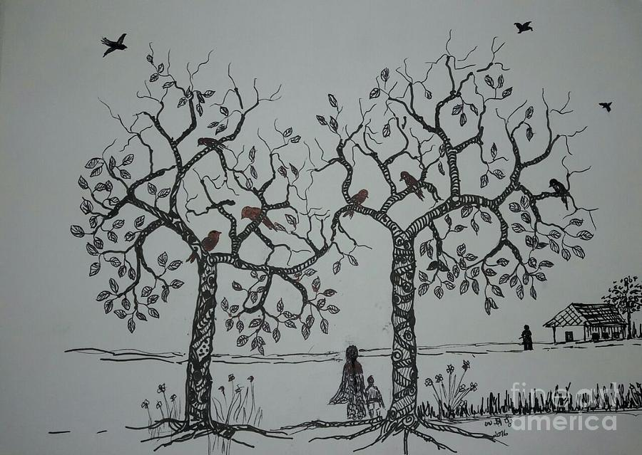 My House Is On That Side Drawing by Usha Rai