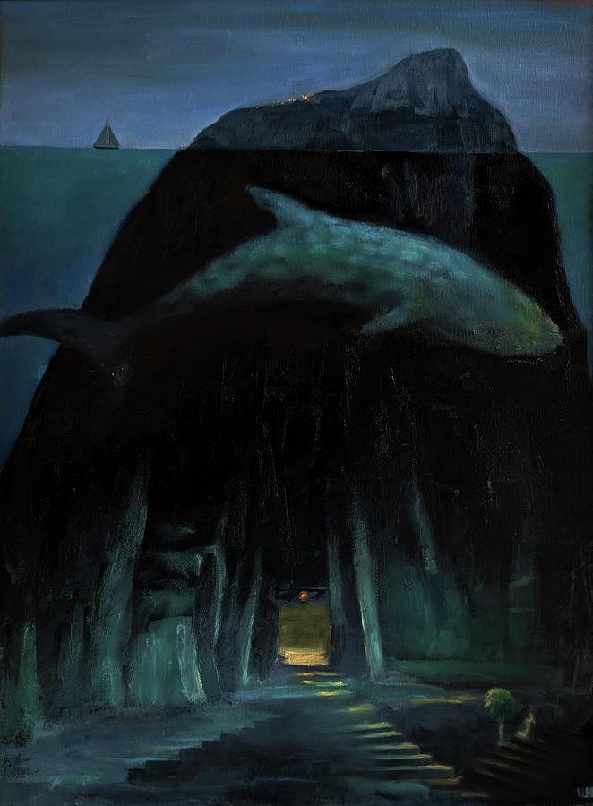 Oil Painting - My house under water by Izya Shlosberg