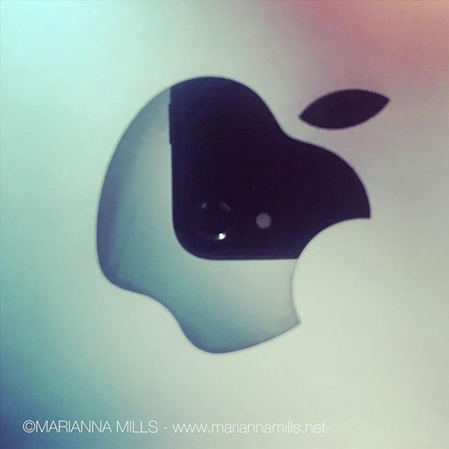 Designer Photograph - My Iphone Reflection On My Macbook Pro by Marianna Mills
