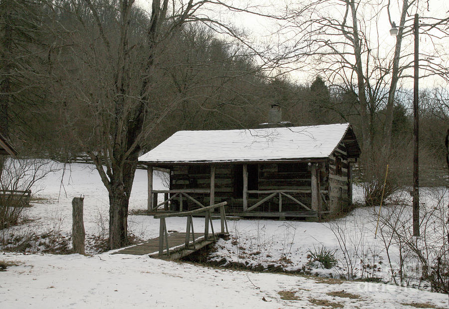 My Lil Cabin Home On The Hill in Winter by Melissa  Mim Rieman