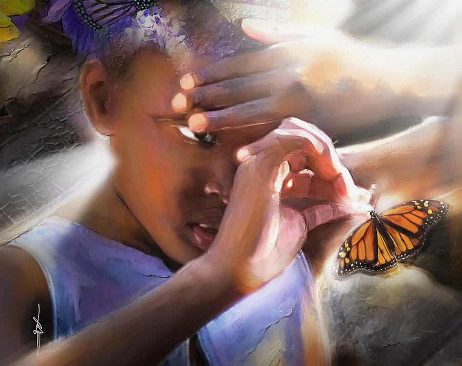 Butterfly Painting - My Little Butterfly by Bob Salo