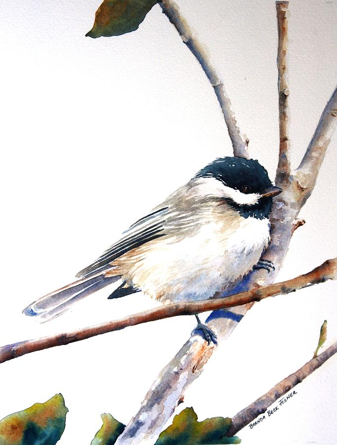 Black Capped Chickadee Painting - My Little Chickadee by Brenda Beck Fisher