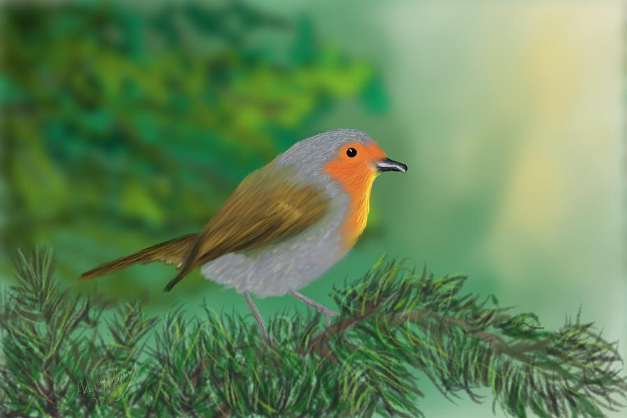 Birds Painting - My Little Chickadee by Harry Dusenberg