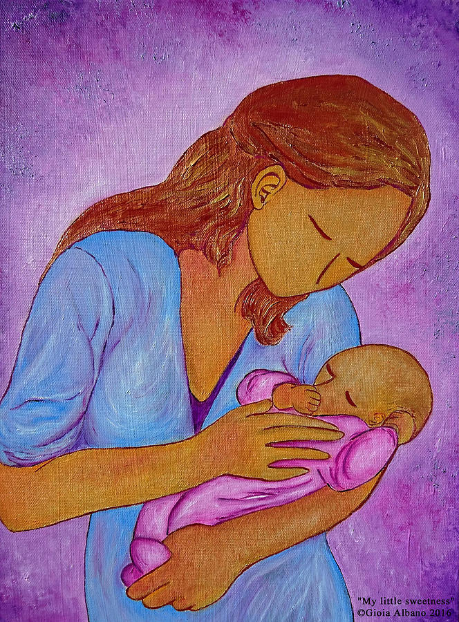 Mother And Daughter Painting - My Little Sweetness by Gioia Albano