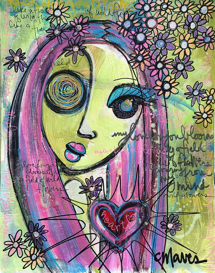 Love Painting - My Love For You Blooms by Laurie Maves ART