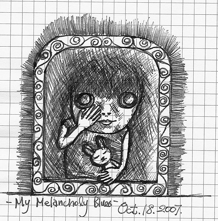 My Melancholy Blues Drawing by Yi Li Chuang