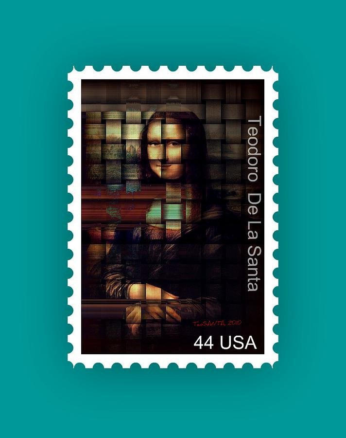Stamp Painting - My Mona Lisa Stamp Series by Teodoro De La Santa