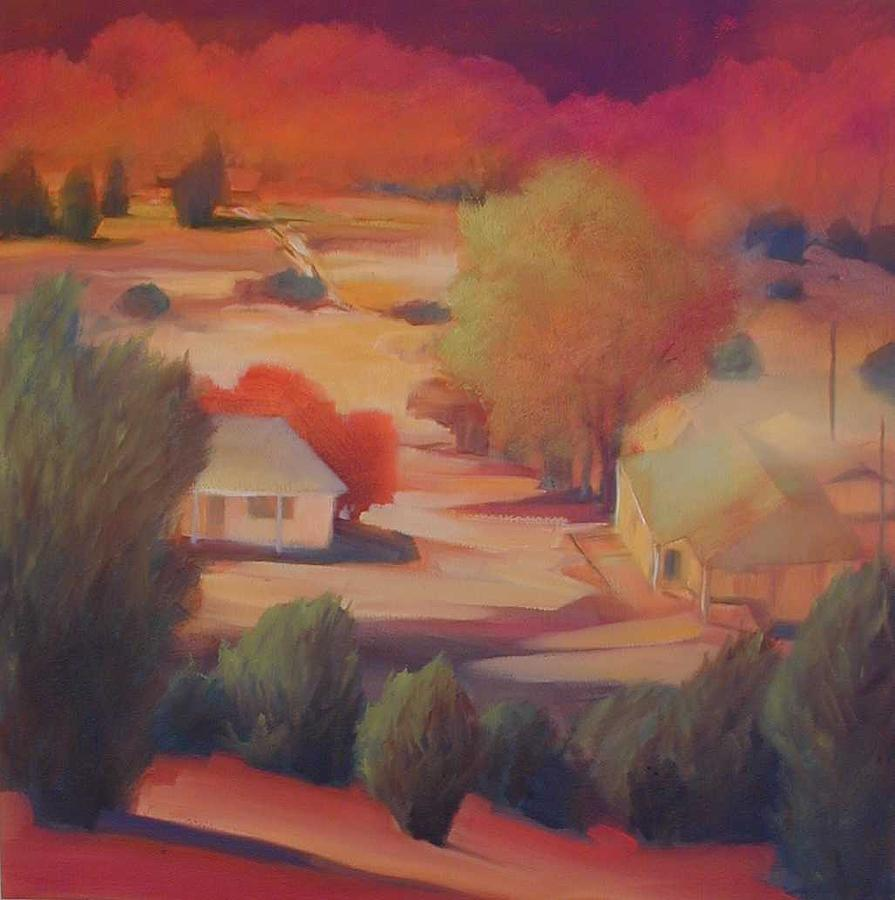 Landscape Painting - My Neighborhood - View From The Mesa by R Raya