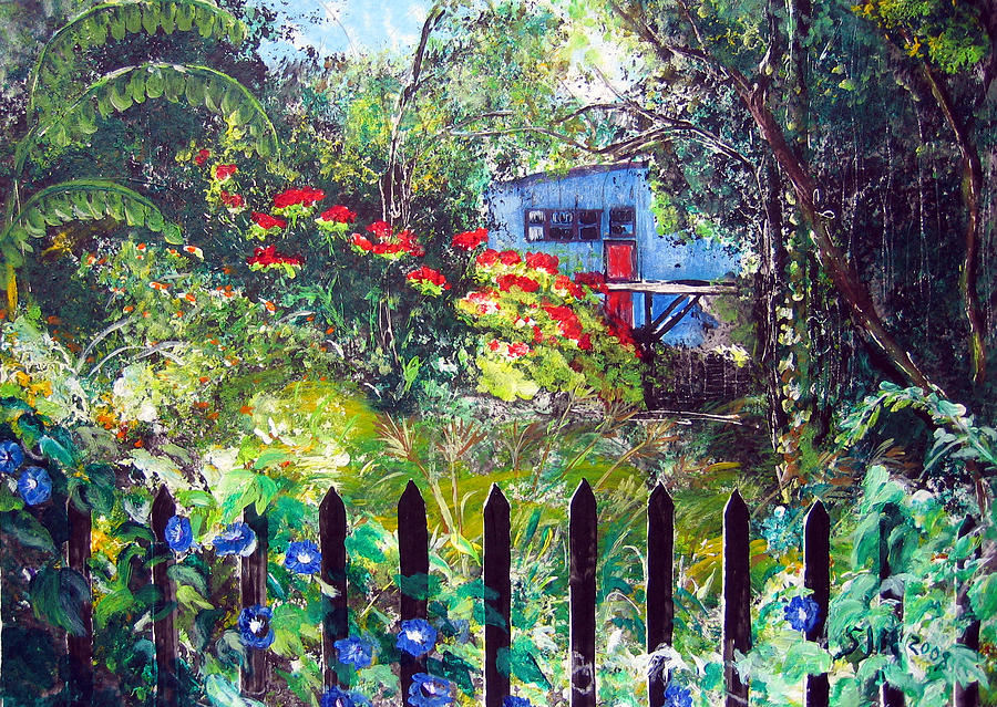 Landscape Painting - My Neighbors Garden by Sarah Hornsby