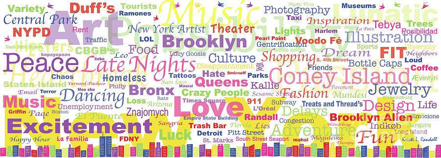 New York Digital Art - My New York In Words by Kristi L Randall