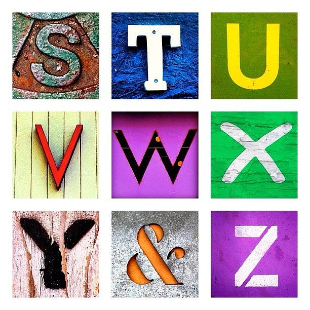 Alphabet Letters Photograph - my own alphabet S to Z by Julie Gebhardt