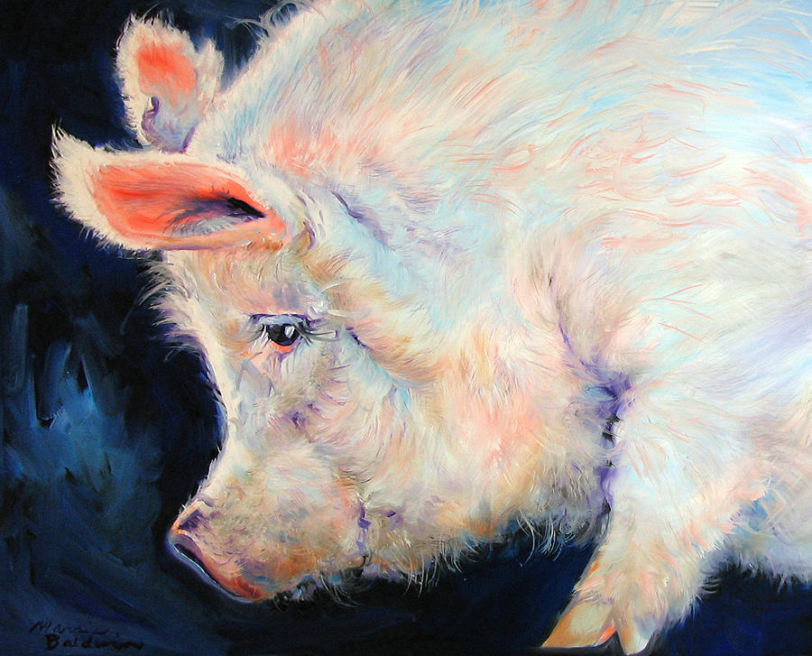 Pig Painting - My Pink Pig  For A Lucky Day By M Baldwin by Marcia Baldwin